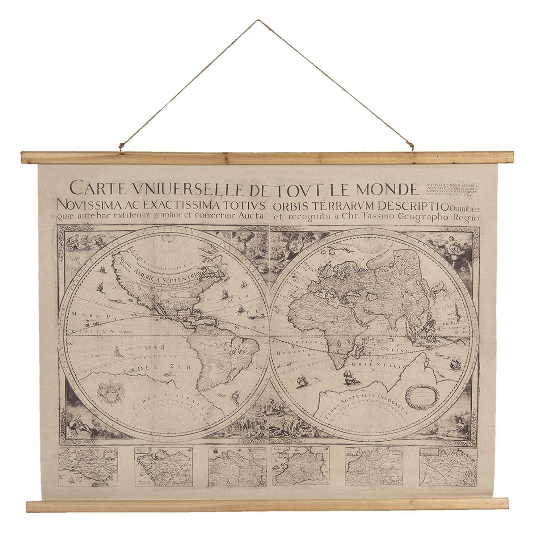 Clayre & Eef Nástěnná mapa světa obě polokoule s latinským popisem - 100*2*75 cm