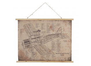 Nástěnná mapa britského jednomístného dvouplošného letounu - 100*2*75 cm