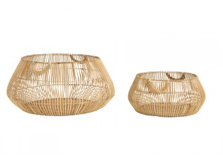 2ks přírodní ratanové koše Patan  - Ø 50*22 cm / Ø 70*32 cm