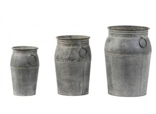 Set 3ks plechových květináčů s patinou Dahlia antique zinc - Ø 21*54cm