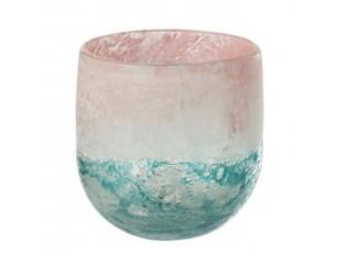 Tyrkysovo - růžový skleněný svícen Blush S - Ø11*11 cm
