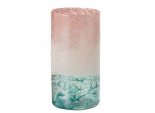 Tyrkysovo - růžová skleněná váza Blush L - Ø16*30 cm