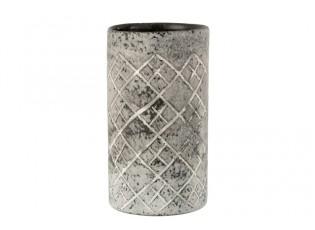 Šedá skleněná váza Checkered  - Ø14*25 cm