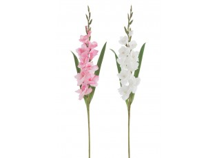 2ks bílá a růžová umělá květina gladiol / mečík - 12*102 cm