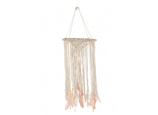 Přírodní lapač snů s růžovými peříčky Feathers - Ø 30*90cm