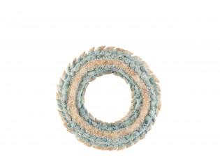 Věnec z modrých a přírodních mušliček s korálky Coronne S - Ø 20*4cm