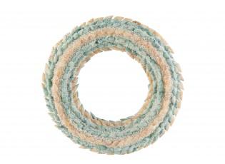 Věnec z modrých a přírodních mušliček s korálky Coronne L - Ø 25*4cm