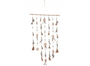 Závěs s peříčky a lapači snů Feathers - 60*5*131cm