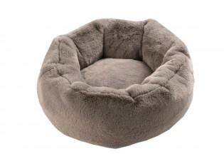 Šedý chlupatý kulatý pelíšek pro kočičku Rondi - Ø 50*19 cm