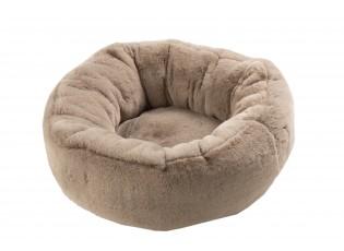 Béžový chlupatý kulatý pelíšek pro kočičku Rondi - Ø 50*19 cm