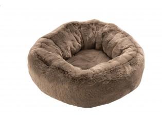 Taupe chlupatý kulatý pelíšek pro kočičku Rondi - Ø 50*19 cm