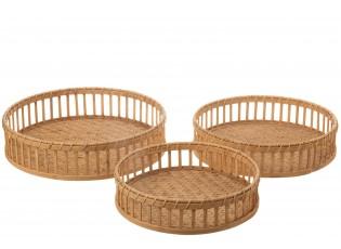 Set 3ks bambusových podnosů s držadly Bamboi - Ø 47 * 13 cm