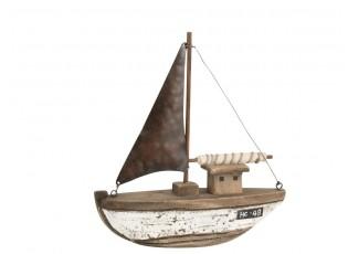 Dřevěná dekorace přírodní loďka Boat - 20*6*21 cm