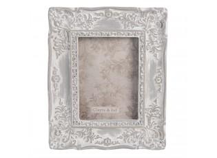 Šedý fotorámeček s ornamenty a patinou - 10*1*12 cm / 6*8 cm