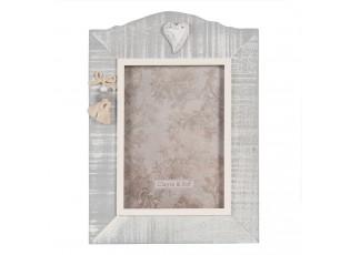Velký šedý fotorámeček s dekorací srdíčka - 20*2*27 cm / 13*18 cm