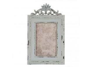 Modrý fotorámeček s patinou a ornamenty - 16*2*26 cm / 10*15 cm
