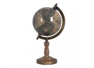 Černý globus na dřevěné vyřezávané noze - 13*13*27 cm
