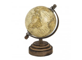 Hnědý mini globus na dřevěném podstavci - 8*8*13 cm