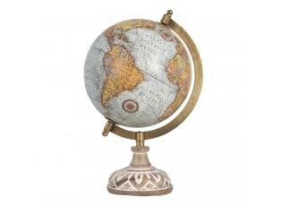 Globus na dřevěném bíle malovaném podstavci - 15*15*28 cm