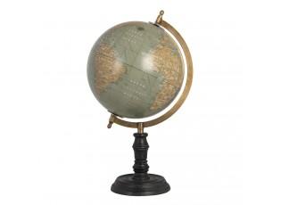 Šedý globus na černém podstavci  - 21*21*42 cm