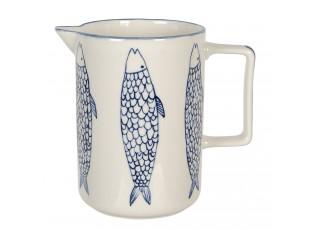 Keramický džbán s modrým dekorem ryb Atalante - 18*11*16 cm