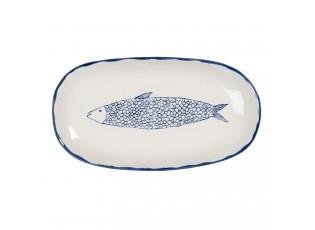 Keramický servírovací talíř s modrým dekorem ryby Atalante - 30*16*3 cm