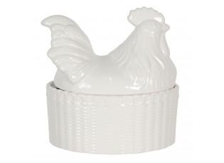 Bílá dóza s víkem ve tvaru kohouta - 16*11*16 cm