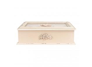 Béžový box zdobený růžemi a s přihrádkami (6) - 32*26*9 cm