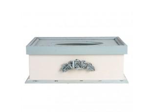 Krémovo - modrý vintage box na kapesníky Rossien - 27*18*10 cm