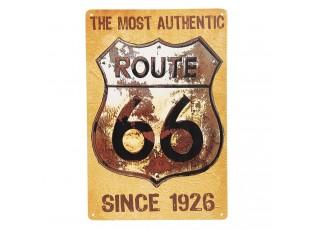 Žlutá retro kovová cedule Route 66 - 20*30 cm
