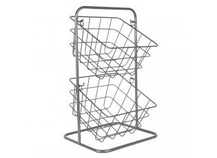 Stříbrný stojan s košíky - 22*22*41 cm