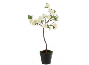 Dekorace umělý bílý kvetoucí stromek - 24-24*52 cm