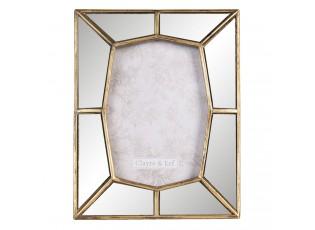 Fotorámeček se zrcadlovým okrajem se zlatým lemováním - 19*2*24 cm / 13*18 cm