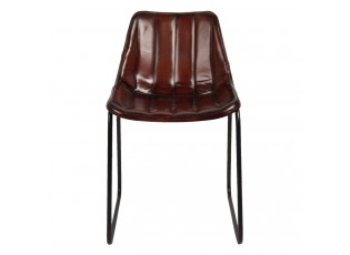 Hnědá lehce polstrovaná kožená židle Sol - 46*48*79 cm