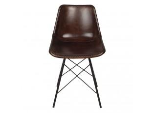 Designová hnědá kožená židle Luz - 46*48*79 cm