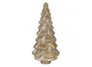 Stříbrný vánoční stromek se zlatou patinou a odřeninami - 24*51 cm