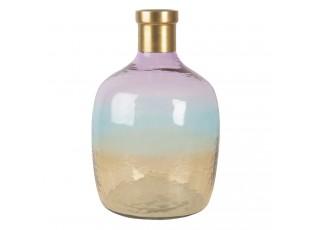 Skleněná duhová váza se zlatým hrdlem - 36*23 cm