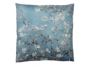 Modrý polštář s motivem rozkvetlých větviček - 45*45 cm