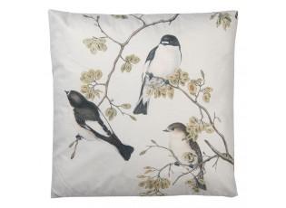 Světle šedivý polštář s motivem ptáčků a výplní - 45*45 cm