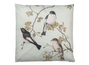 Světle šedivý polštář s motivem ptactva a výplní - 45*45 cm