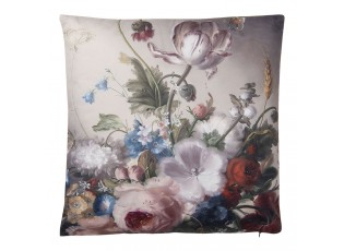 Šedivý polštář s motivem tulipánů a pivoněk s výplní - 45*45 cm