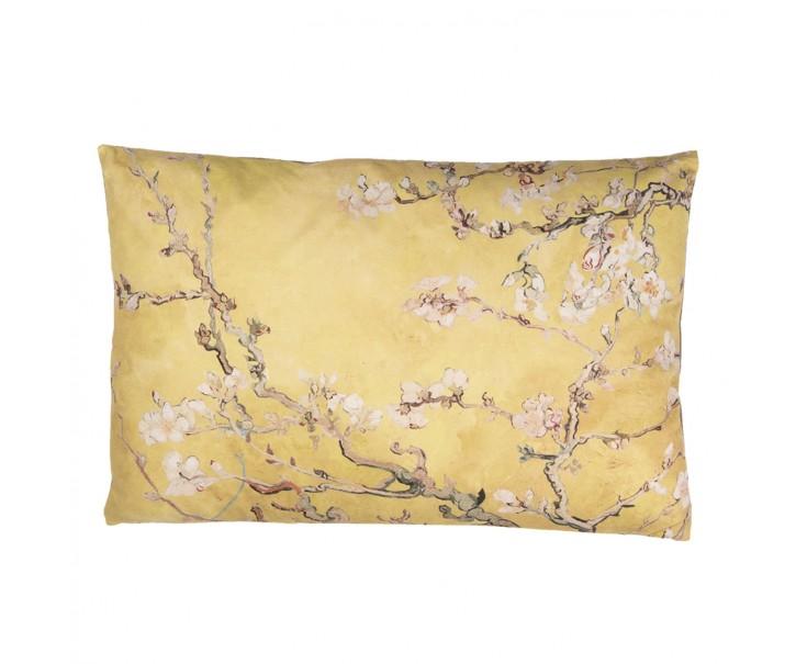 Žlutý polštář s výplní a motivem větviček a drobných květů - 60*40 cm
