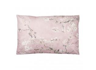 Světle růžový polštář s výplní a motivem větviček a drobných květů - 60*40 cm