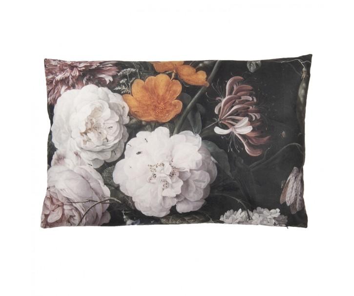 Vintage polštář s květinovým motivem a výplní - 60*40 cm