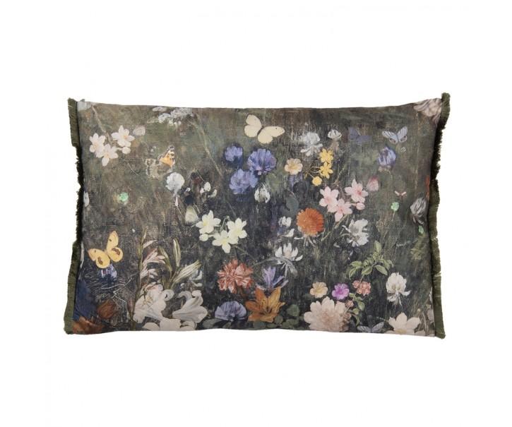 Vintage barevný polštář s květy a motýly  - 60*40 cm