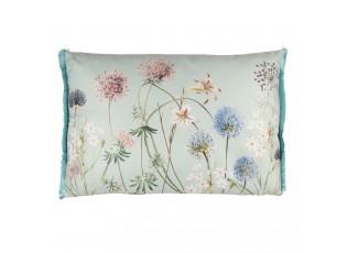 Šedivý polštář s modrými třásněmi a motivem květin - 60*40 cm