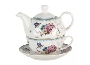 Tea for one s motivem květin a ptáčka Pivoine - 0,46L