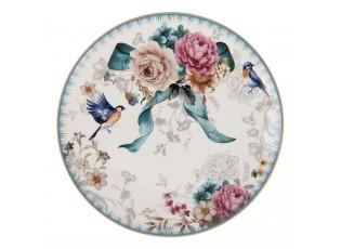 Dezertní talířek  s motivem květin a ptáčka Pivoine - Ø 20*2 cm
