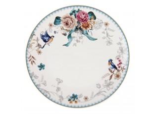 Jídelní talíř s motivem květin a ptáčka Pivoine - Ø 26*2 cm