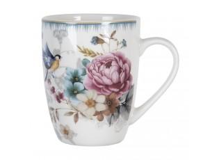 Velký porcelánový hrnek s motivem květin a ptáčka Pivoine - 12*8*10 cm / 0,36 l